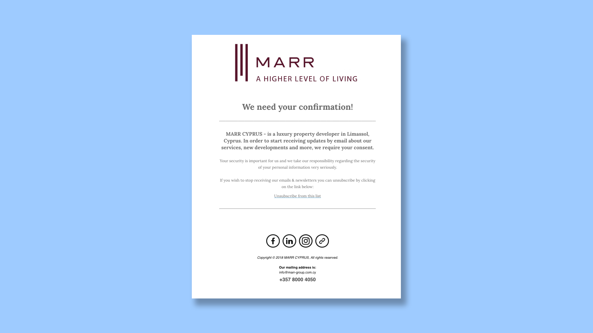 Branding Box: Newsletter Marr Cyprus